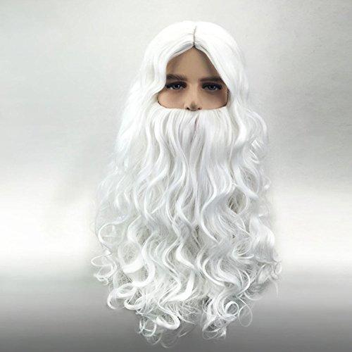 ZFF Weihnachten Lange Bart und Perücke Set Weiß Synthetische Faser Cosplay (Perücke + - Synthetische Kostüm Bart Und Perücke Set