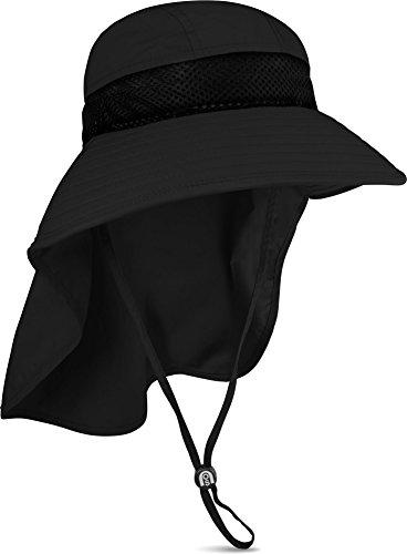 normani Sommerhut Sonnenschutz mit Nackenschutz und Netzfutter in der Krone Outdoor Outback Farbe Schwarz Größe 62-65