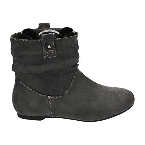 Damen Stiefeletten Stiefel Boots Flache Schlupfstiefel Schuhe 83 Grau
