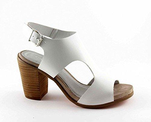CAF NOIR LB914 Fersenriemen Sandalen weiße Frau Bianco