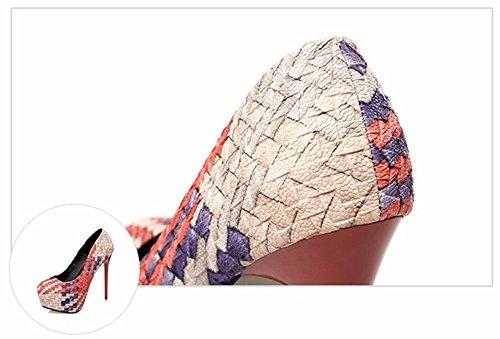 FLYRCX In stile europeo personalità trendy tabella di impermeabilizzazione con sottili tacchi tralicci sexy e tacchi alti C