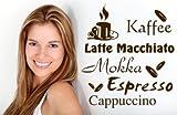 Wandtattoo Kaffee Wandaufkleber Kaffeesorten für die Küche ( Latte, Espresso, Mokka, Cappuccino, usw) freie Farbwahl - Größe: 45x40cm