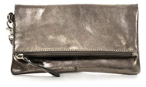 CNTMP, Damen Handtaschen, Clutch, Clutches, Clutchbags, Unterarmtaschen, Partybags, Trend-Bags, Metallic, Leder Tasche, Anthrazit, 21x11x2,5cm (B x H x T) Grau Metallic-leder