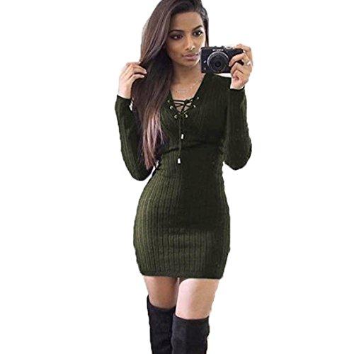 feiXIANG frauen im winter lange ärmel aus pullover kleid Damen stricken langärmeliges mini Kleid (XL, Armee grün)
