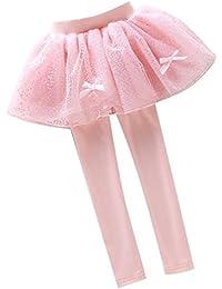 Leggings Pantalones Algodón - Legging Otoño Pantalones Niñas Legging Danza Con Mini Vestido Banda Encaje Malla Plisada Para Edad 1 - 12 Años Morado Rosado Azul Yying