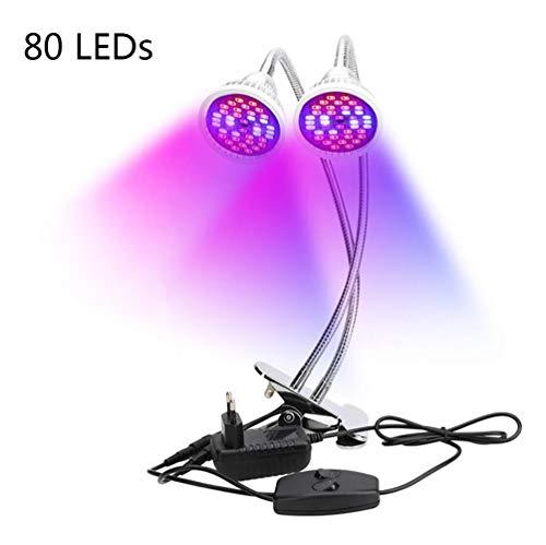ZHANGBD Dual Heads Grow Light, 18 W Vollspektrum-Schreibtischleuchte mit Clip und 360 ° flexiblen Metallarmen und Doppelschaltern