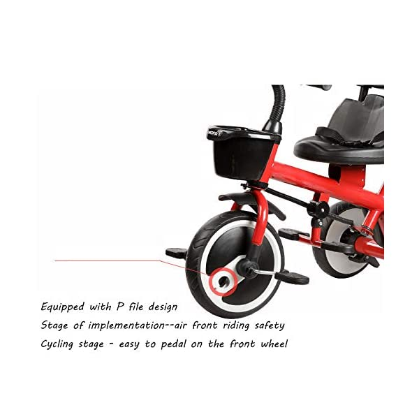 BGHKFF 2 In 1 Childrens Tricycles 1.5 To 5 Years 360° Swivelling Saddle Kids Tricycle Anti-slip Pedals 2-Point Safety Belt Child Trike Maximum Weight 25 Kg,Orange BGHKFF ★Material: Steel frame, suitable for children aged 1.5-5, maximum weight 25 kg ★ 2 in 1 multi-function: can be converted into baby strollers and tricycles. Remove the hand putter as a tricycle. ★Safety design: golden triangle structure, safe and stable; front wheel clutch, will not hit the baby's foot; 2 point seat belt; rear wheel double brake 5