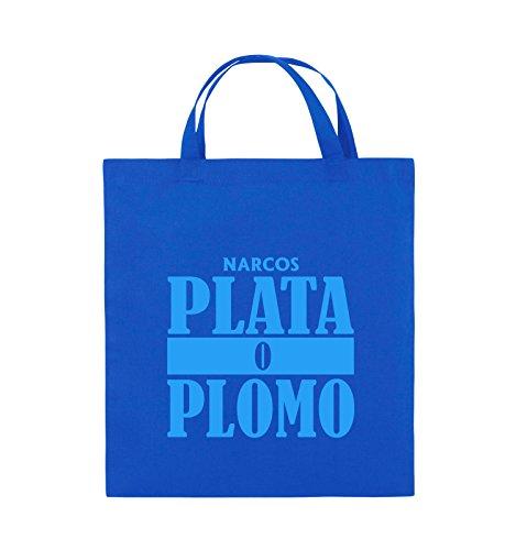 Buste Comedy - Plata O Plomo - Narcos - Borsa In Juta - Manico Corto - 38x42cm - Colore: Nero / Rosa Blu Royal / Blu