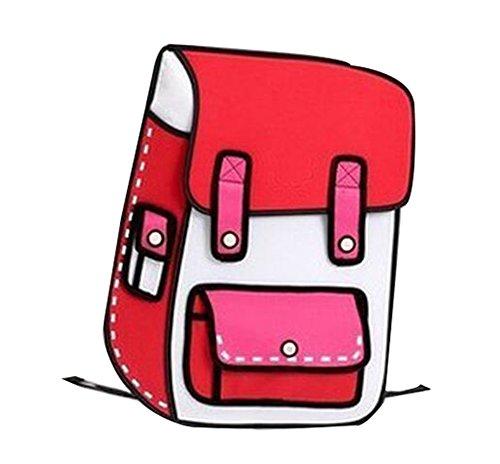 MissFox Ragazze Scatola Di Cartone Progettazione 3D Mini Scuolasacchetto Big Rosso
