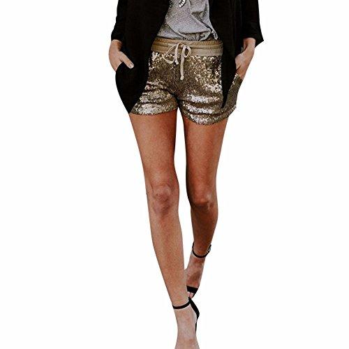 Topgrowth pantaloncini da donna paillettes pantaloncini con tasca casual club festa pantaloni caldi (oro, l)