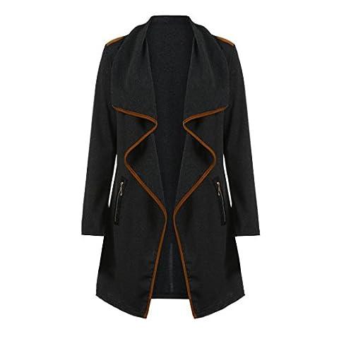 Trenchcoat,Dasongff Asymmetrisch Strickmantel Lose Plus Langarmshirts Mantel Strickjacke Tops Sweatshirt unregelmäßige Jacke (3XL, Schwarz)