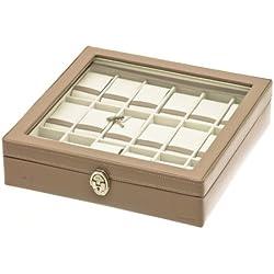"Davidt's Unisex Watch Box For 18 Watches ""Chrome"" 378818.21 Beige"