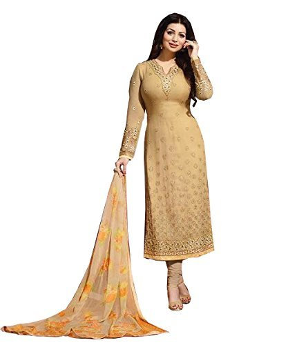 Fkart Women's Georgette chiku Embroidered Long Semi-Stitched party wear Salwar with dupatta...