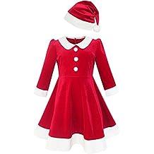 Sunny Fashion Vestido para niña Navidad Sombrero rojo Terciopelo Largo Manga fiesta 4-14 años