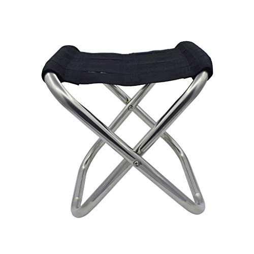 XBZDY Klapphocker, Fischenstuhl Dicker Edelstahl Klapp Kleines Pferd Sitzende Zug Tragbare Hocker Körper Krankenhaus Lounge Chair, Schwarz