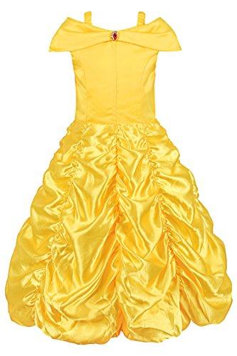 JerrisApparel Prinzessin Belle Aus Schulter Geschichtet Kostüm Kleid Für kleines Mädchen (3 Jahre, Gelb) (Gelben Kleid Kostüme)