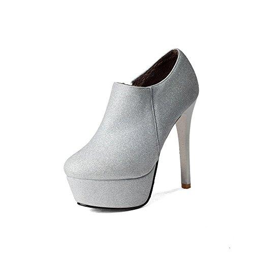 VogueZone009 Donna Punta Tonda Alla Caviglia Tacco A Spillo Puro Stivali  con Seta Argento