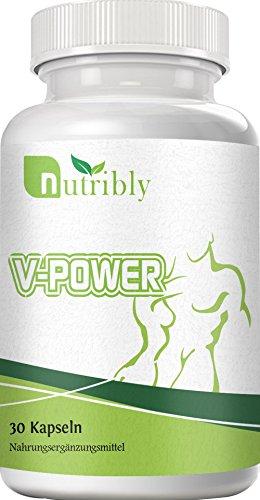 Nutribly V-Power - Sehr Hochdosiert - Potenz + Fruchtbarkeit + Sperma - 30 Kapseln mit L-Arginin + L-Citrullin + OPC + Maca + Zink - 100% Natürlich und Vegan
