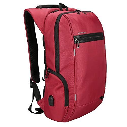 Daypacks Rucksack-Antidiebstahl-Laptop 13/15.6/17 Zoll for Jugendlicher USB-Aufladungsbeutel Bester Reiserucksack (Farbe : Red, Size : 17 Inch)