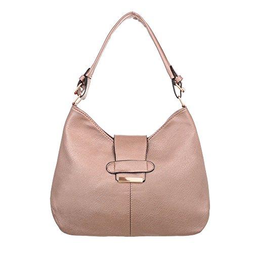 b0d83248158a0 iTaldEsiGn Damentasche Große Schultertasche Used Optik Handtasche Kunstleder  TAA1231 Rosa Gold