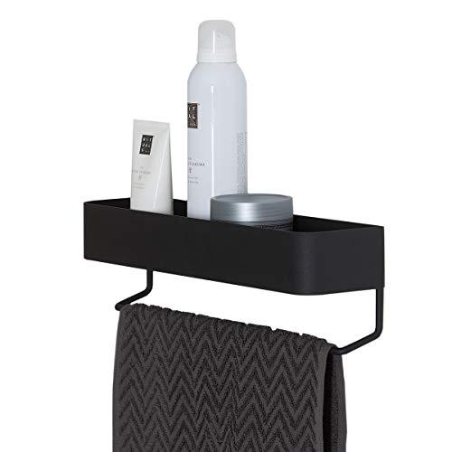 Sealskin Brix Handtuchreck mit Ablage, Handtuchhalter aus Metall, Farbe: Schwarz