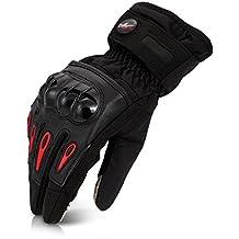 CARCHET Guantes de Motos Invierno Cálido Impermeable Guantes de Protección a prueba de viento Guantes para Moto para Pantalla Táctil Color Negro Talla L