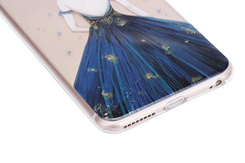 Paillette Coque pour iPhone 6/6S,iPhone 6S Coque Silicone Étui Ultra Mince Housse, iPhone 6 Souple Coque Etui en Silicone, iPhone 6/6S Silicone Case Soft TPU Cover, Ukayfe Etui de Protection Cas en ca Dame robe bleue