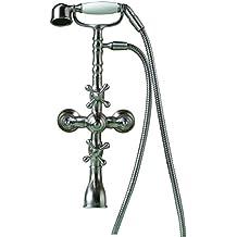 DeLanwa diseño Retro plateado de acero inoxidable, grifo de ducha alcachofa cepillito, 607068