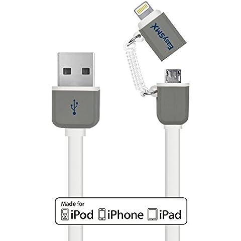 EasySMX MFi Cable Certificado 2-en-1 USB Cable Multifuncional con 8-pines Lighting Conector y Conector de Micro USB 3.3ft (1 metro) Carga y Sincronización para iPhone iPad iPod y Android Smartphones y Tabletas