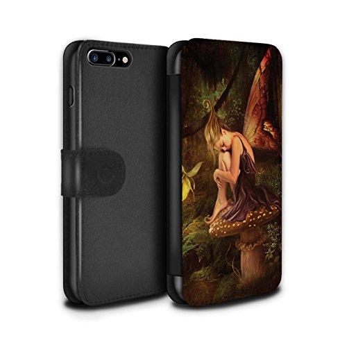 Offiziell Elena Dudina PU-Leder Hülle/Case/Tasche/Cover für Apple iPhone 8 Plus / Himmel Schneeflocke Muster / Elegante Feen Kollektion Das Magie Wald
