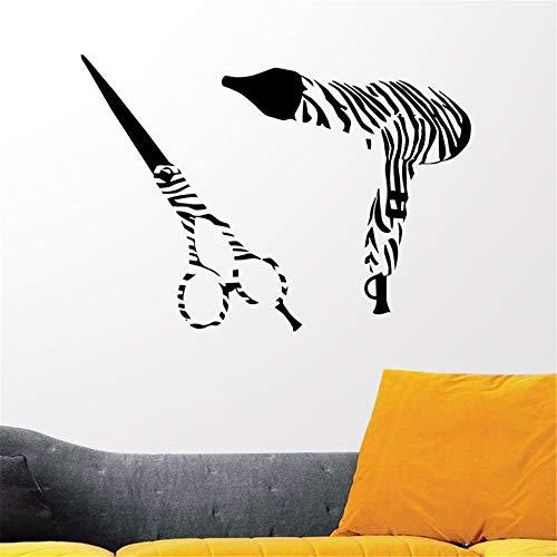 Wandtattoo Wohnzimmer Barber Shop Aufkleber Zebra Scissors Hair Dryer Salon Aufkleber Neutral Haircut Poster Dekor für Friseursalon