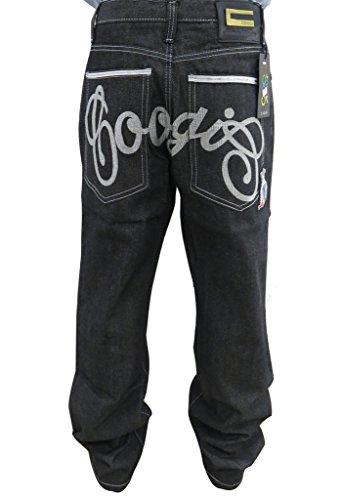 Pizoff Herren Hip Hop Hipster Style Baggy Jeans Rap Denim mit Stickerei Muster j9015-S