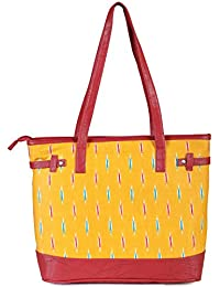 Women's Yellow Coloured Tote Bag With Zip From Decorous