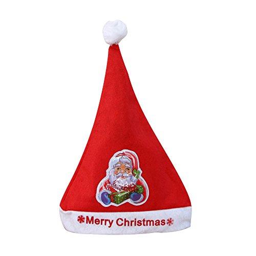 SuperSU Frohe Weihnachten ➱➲ 1 Stücke Kind Erwachsene Beleuchtet Nikolausmütze Weihnachtsmütze,Weihnachtsdeko Xmas Party Deko für Kinder Weihnachtsmann Kostüm (Für Erwachsenen Vintage Baseball Kostüm)