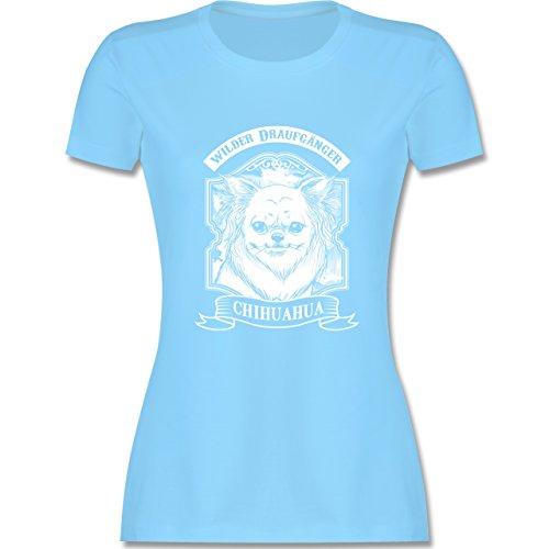 Hunde - Chihuahua - wilder Draufgänger - tailliertes Premium T-Shirt mit Rundhalsausschnitt für Damen Hellblau