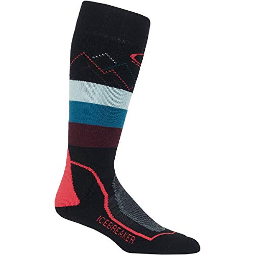 Icebreaker Merino Damen Women's Medium Over The Calf GFX Ski-Socken, Black/Prism/Velvet, Large