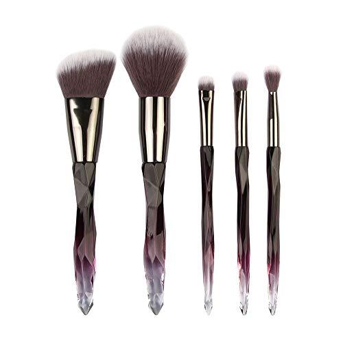 DaySing Brosse Kit De Pinceau Maquillage Professionnel5Pcs Multifonctionnel Pinceau De Maquillage Correcteur De Fard à PaupièRes Outil De Pinceau Pinceau à LèVre avec Sac Nois