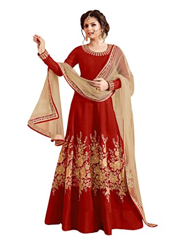 Sancom New Designer Red Colour Bhagalpuri With Heavy Embroidery Anarkali Suit  available at amazon for Rs.1219