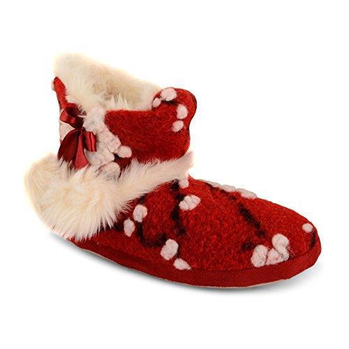 Damen Dunlop Gestrickt Hausschuhe Norweger Warm Stiefeletten Eskimo Winter Damen Hausschuhe Red Pom