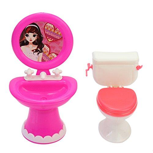 Preisvergleich Produktbild Pinzhi Bad Möbel Zubehör Kunststoff WC und Waschbecken-Set für Puppenhaus