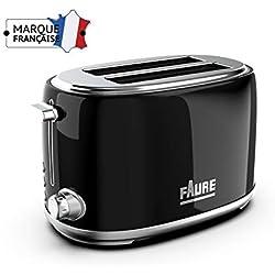 Faure FT2S-8111 Grille pain Design Vintage - 810W puissance réglable - Ejection Haute - 2 Larges Fentes - Coloris Noir
