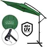 Deuba Alu Ampelschirm Ø300cm I grün I mit Kurbelvorrichtung I UV-Schutz 40+ I Aluminium I Wasserabweisende Bespannung - Sonnenschirm Schirm...
