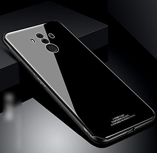 Ysimee Coque Huawei Mate 10 Pro, Dur PC Hard Case Ultra Mince Étui Housse pour Huawei Mate 10 Pro Couverture Arrière en Verre Trempé Rigide + Silicone Noir Absorption de Choc TPU Souple Bumper,Noir