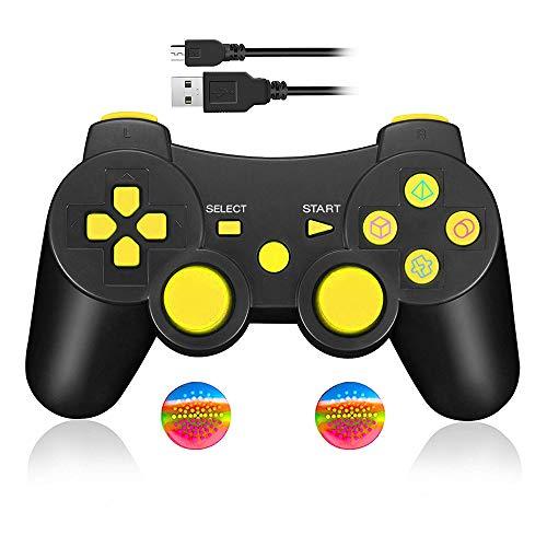 Mando Inalámbrico Bluetooth Controller Doble Vibración para Sony PS3 PlayStation 3 con Funciones SIXAXIS - Amarillo