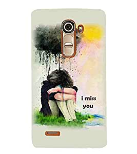 For LG G4 Mini :: LG G4c :: LG G4c H525N I miss you ( I miss you, good quotes, cute girl, khaki background ) Printed Designer Back Case Cover By CHAPLOOS
