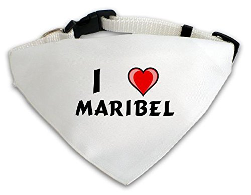 Personalisierter Weißer Hundschal mit Aufschrift Ich liebe Maribel (Vorname/Zuname/Spitzname)