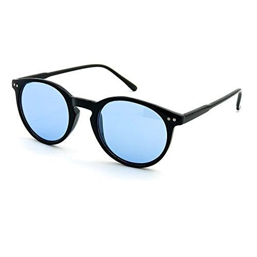 Kiss Sonnenbrille stil MOSCOT mod. WAVE Johnny Depp - Cult VINTAGE Leichte herren damen RUNDE unisex - SCHWARZ/blau