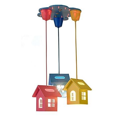 CACH LED Deckenlampe Kinderzimmer Lampe Schlafzimmerleuchte E27x3 Warme Licht (blau, gelb, rosa integriert) für Boy Girl Schlafzimmer dekorative Deckenleuchte