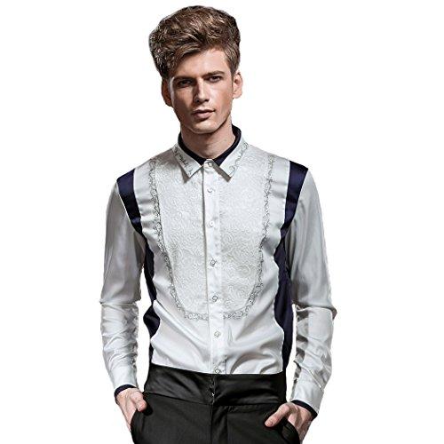 Fanzhuan camicia uomo no stiro slim camicia uomo particolare camicia uomo fantasia fiori camicia uomo slim fit bianca
