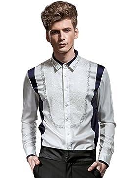 [Sponsorizzato]FANZHUAN Camicia Uomo Bianca Fantasia Da Cerimonia Elegante Floreale Slim Fit No Stiro